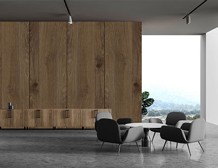 Office waiting area with wood textured wall panels