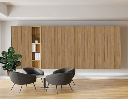 Modern office waiting area with wood textures feature wall