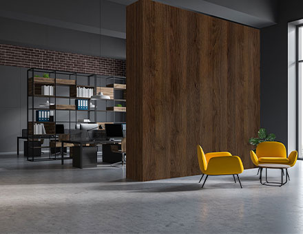 Office waiting area with a huge wood textures partition