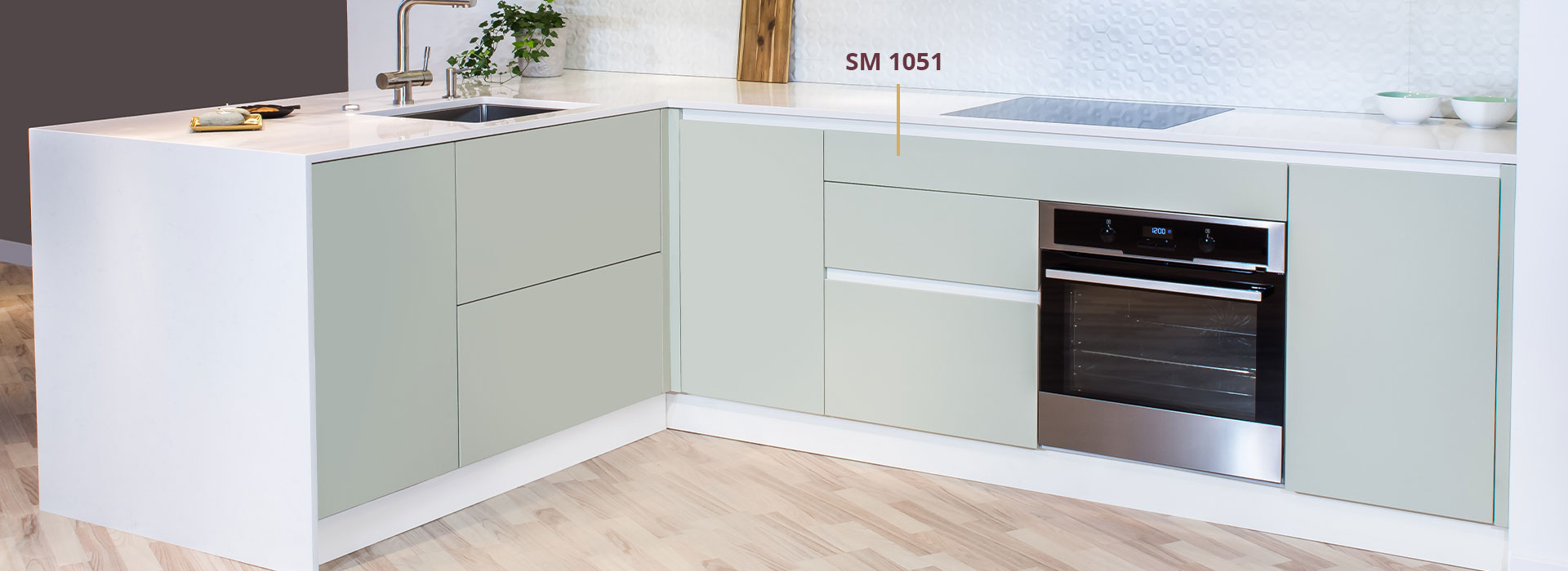 sea green modular kitchen